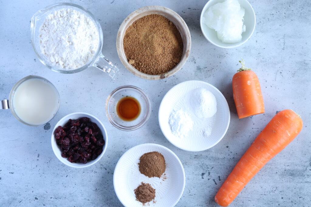 ヴィーガンキャロットケーキの材料